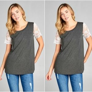 Tops - Charcoal Lace Sleeve Tee